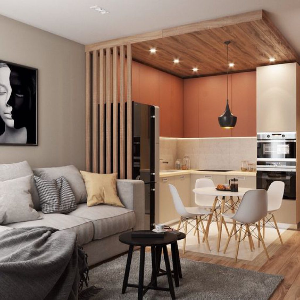 Gam màu phòng ăn ấm áp khác biệt với phòng khách