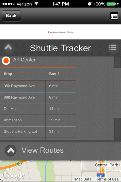 Screenshot of ACCD Library App In Action - Shuttle Tracker