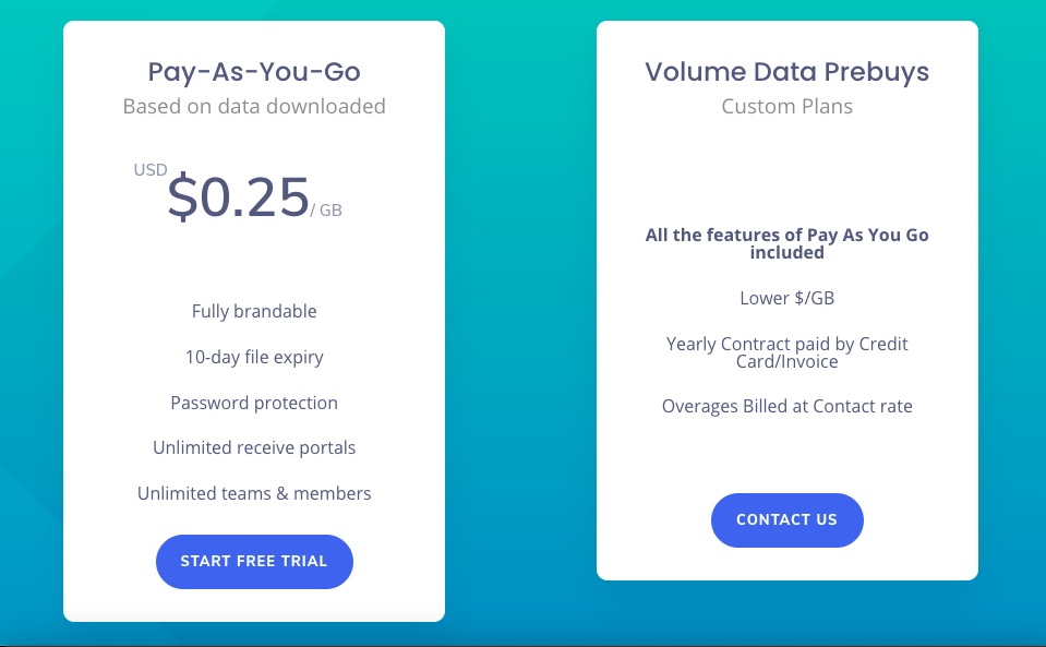 screenshot of massive.io's plans and pricing