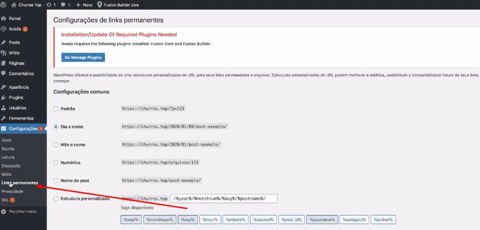 configuração de links permanentes