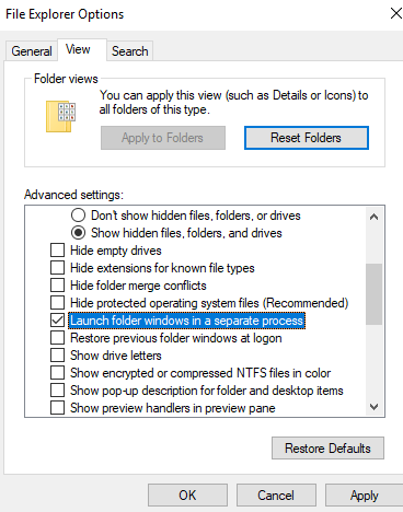 Create Separate Processes to Open Folder Windows