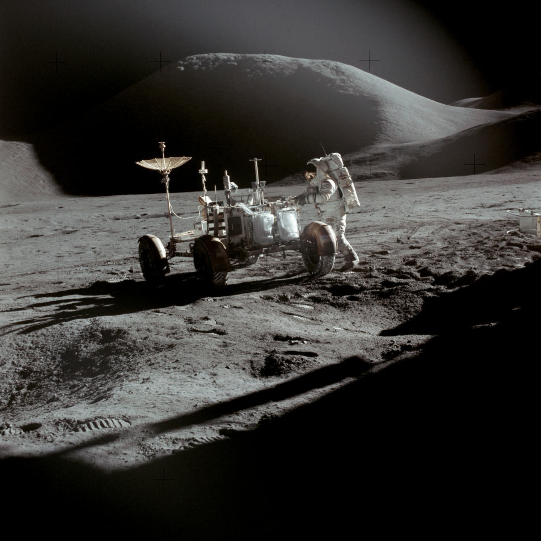 Photo of David Scott on the moon wearing a bulova watch