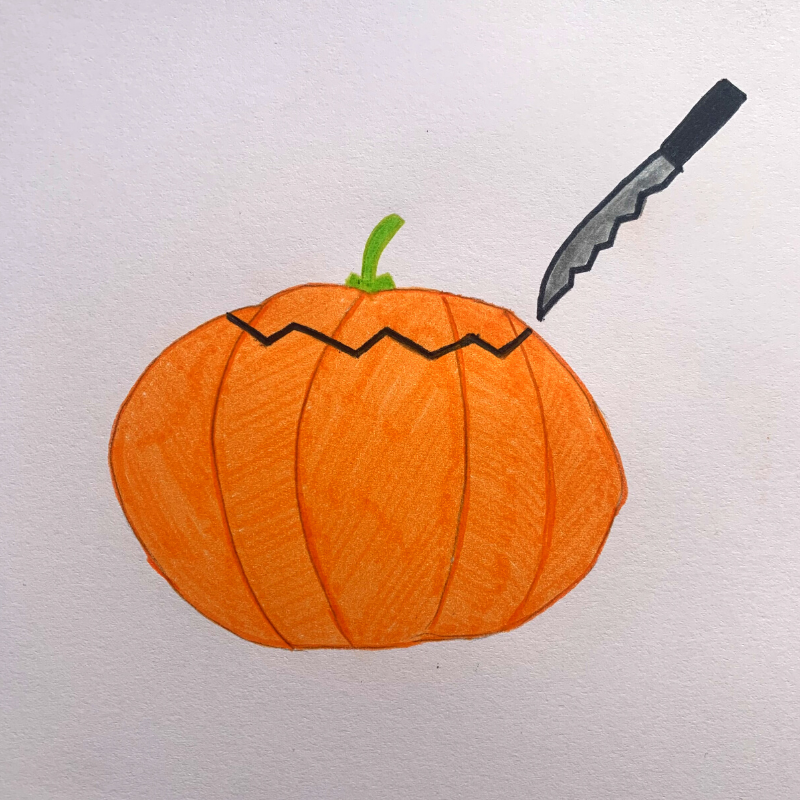 dessin d'une citrouille : comment couper le dessus