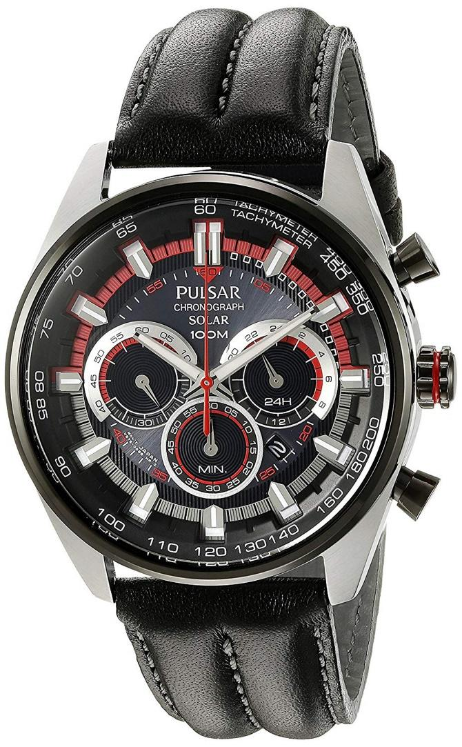 Pulsar PX5031 Chronograph, Solar Watch, Tachymetre, Functional Watch, Leather Strap