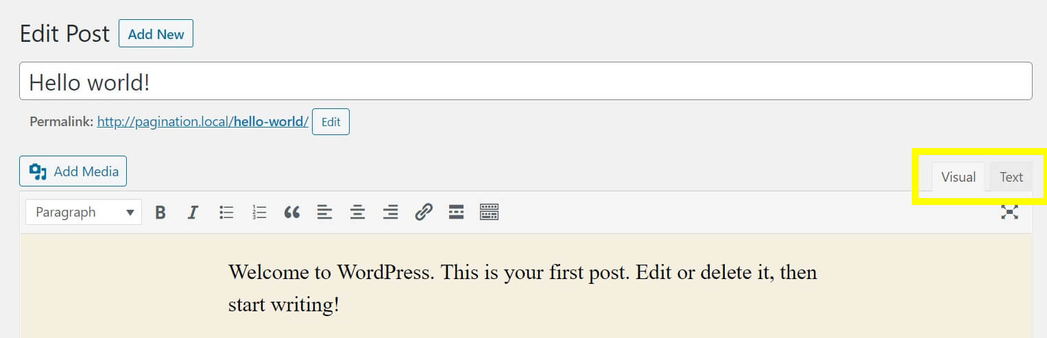 How to switch between Visual and Text editor in WordPress