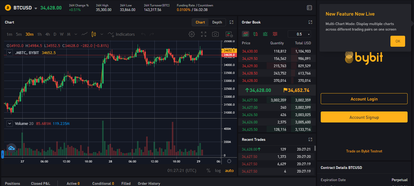 A sample of Bybit's order book.