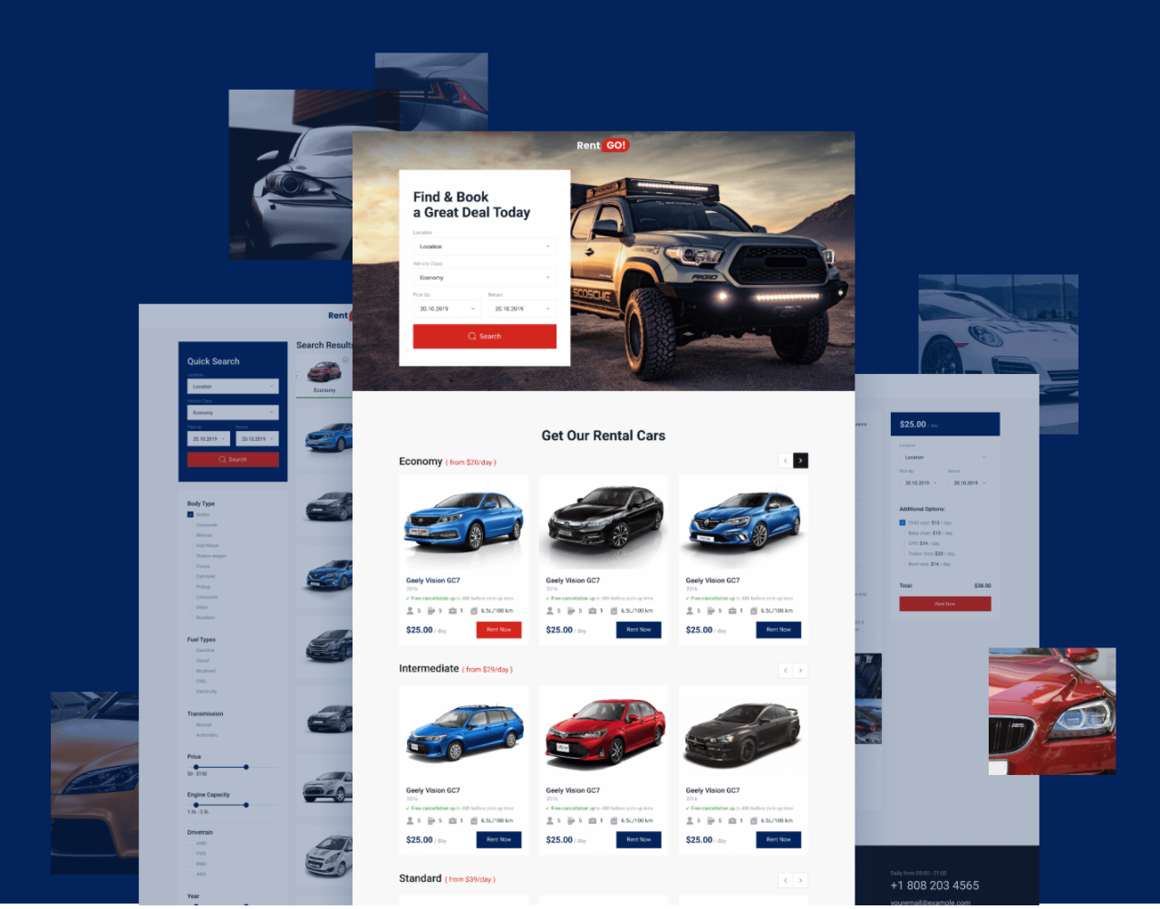 Car rental dynamic WordPress template