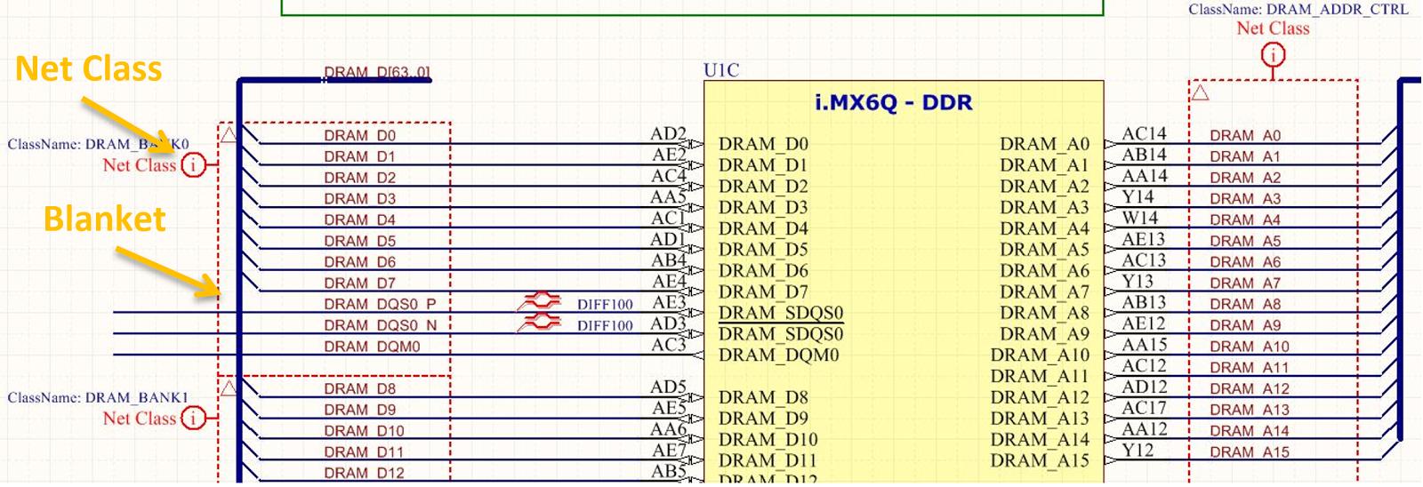 ddr3 memory example tutorial Figure 2 : Les couvertures et les directives PCB sont utilisées pour créer des groupes de classes de réseau pour les directives de routage de la mémoire DDR3