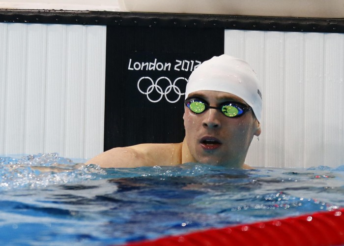 Jul 29, 2012; London, United Kingdom; Paul Biedermann (GER) reacts after winning his heat in the men's 200m freestyle semifinal during the London 2012 Olympic Games at Aquatics Centre. Mandatory Credit: Rob Schumacher-USA TODAY Sports