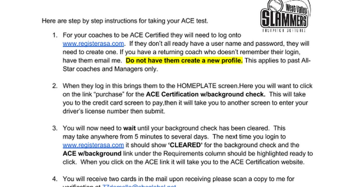 Ace Certification Instructions Google Docs