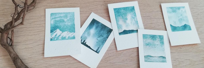 polaroid landscape watercolors