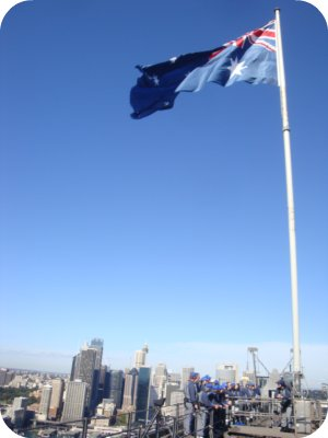 australian flag at top of bridge climb