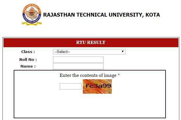 RTU Kota B.Tech result 2016
