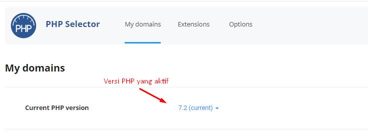 cara cek versi php di cpanel