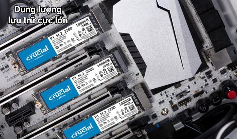 Ổ cứng SSD Crucial P2 500GB 3D NAND NVMe PCIe M.2 (CT500P2SSD8)  Dung lượng lưu trữ lớn