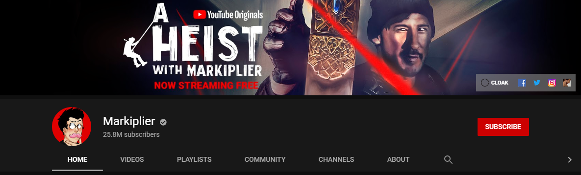 Markiplie has over 25.8 million subscribers on YouTube.
