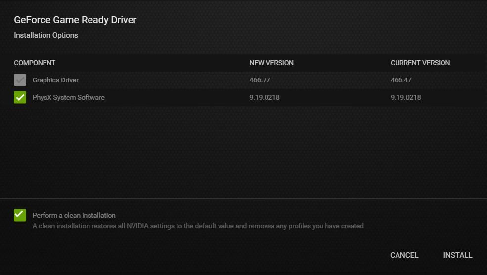 The Nvidia Drivers setup wizard