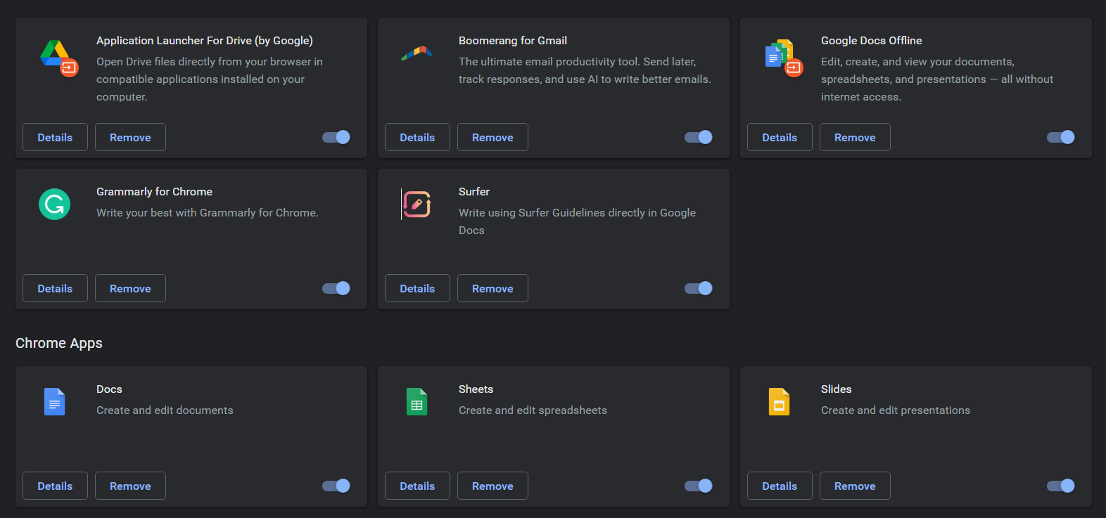 installed extensions in google chrome