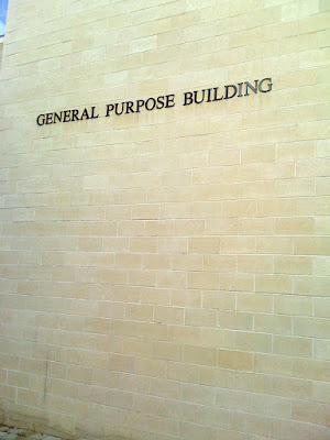 "Sign on side of building saying it is a ""general purpose building"""