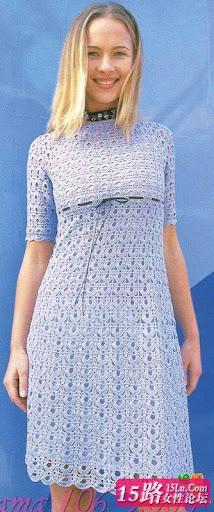 فستان كروشية ازرق مع الطريقة.فساتي كروشية 2012.طريقة فستان كروشية