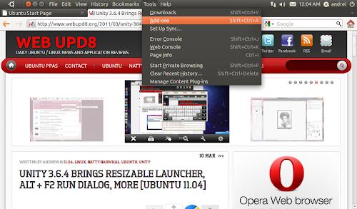 Firefox globalmenu Ubuntu 11.04