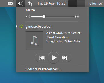 Xubuntu sound menu gmusicbrowser