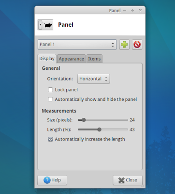 Xubuntu panel preferences