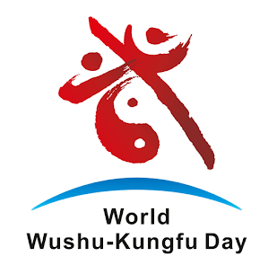 """The logo is based on """"Wu,"""" integrating Taiji as two wushu athletes represent the Earth's latitude and longitude, highlighting a the cultural connotation shared by the world. The color symbolizes communication, harmony and friendship, and has a sense of affinity while having a visual impact."""