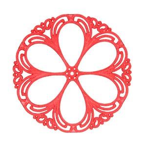 Scarlet Floral Filigree Vintage Lucite Pendant