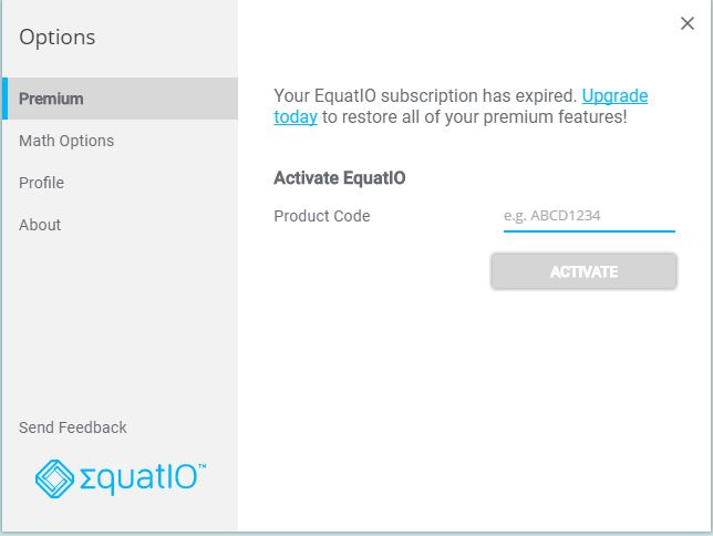 EquatIO activation screen