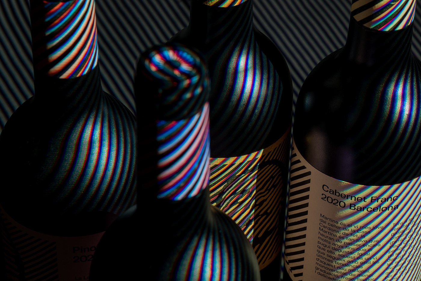 Casa Cardona wines. Group shot with diagonal stripes lighting effects over
