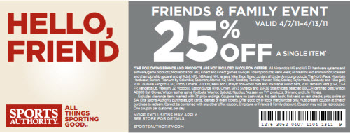 Sports Authority Coupon 25% Off Friend and Family