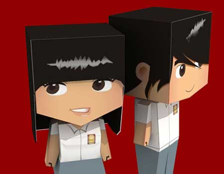 High School Boy Paper Toy