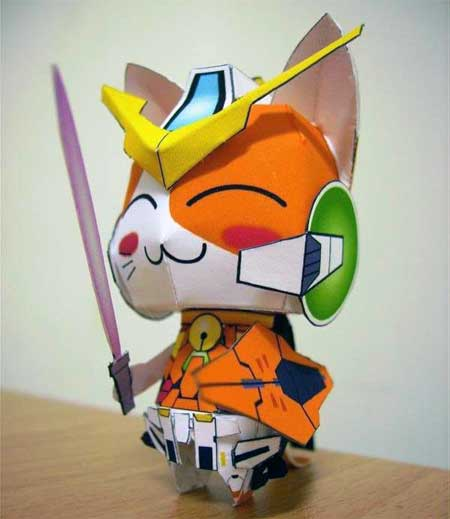 Anime Cat Gundam Kyrios Papercraft