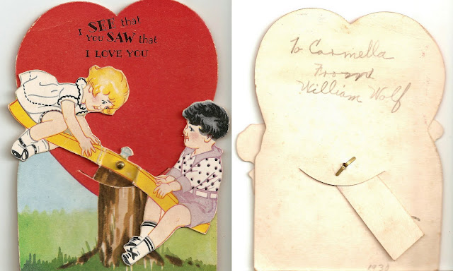 antique vintage valentine children boy girl seesaw teeter totter heart sweet lovely old