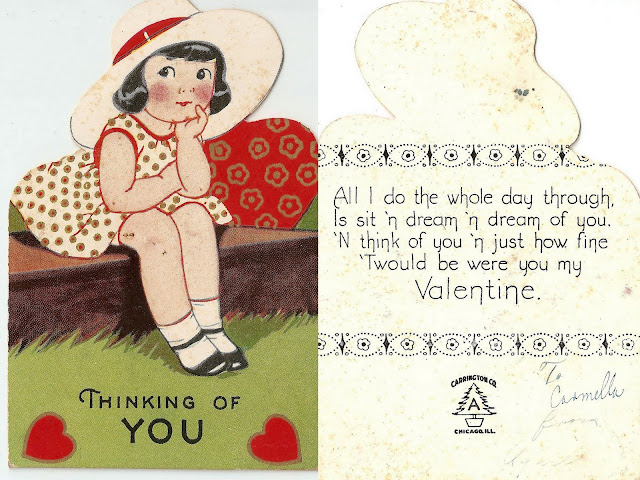 antique vintage valentine girl hat sitting heart sweet lovely old