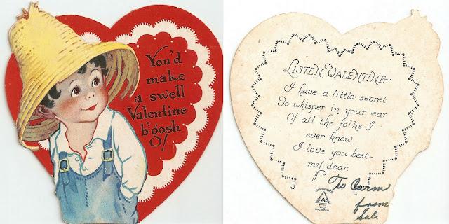 antique vintage old valentine grandma's boy straw hat heart sweet
