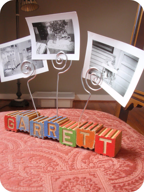 custom name wooden vintage block photo holder