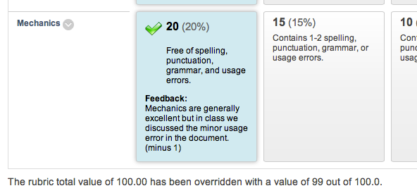 screenshot of rubric with feedback