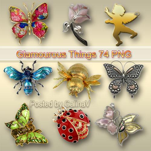 Гламурный клипарт PNG - Бабочки, жуки, розы, ангелы