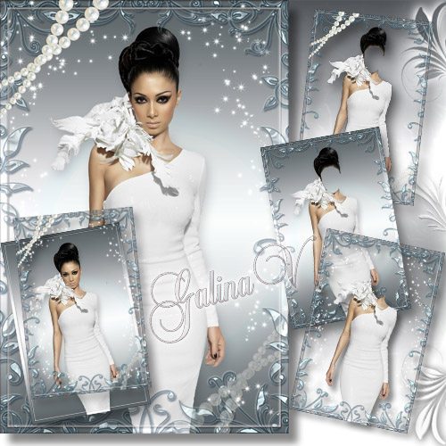 Woman's Phototemplate - The Beauty In White