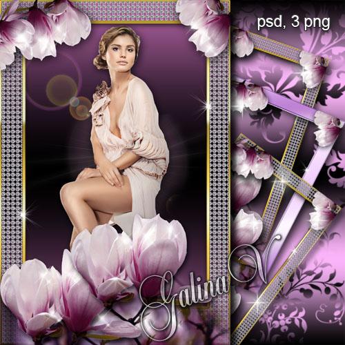 Цветочная фоторамка - Пурпурное сияние