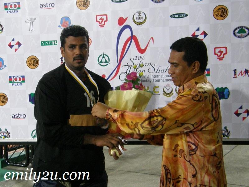 Malaysia goalkeeper S. Kumar