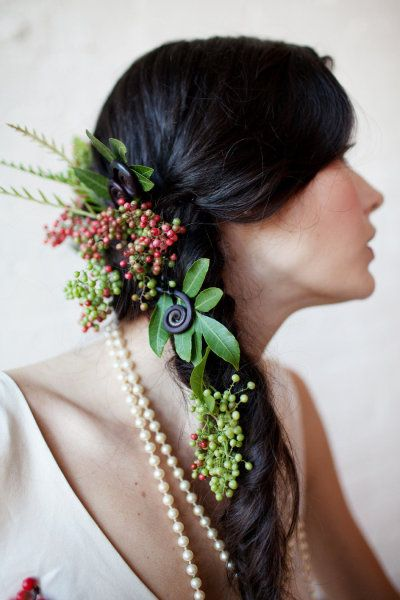 K'Mich Weddings - wedding planning - floral crown - side braid with floral greenery