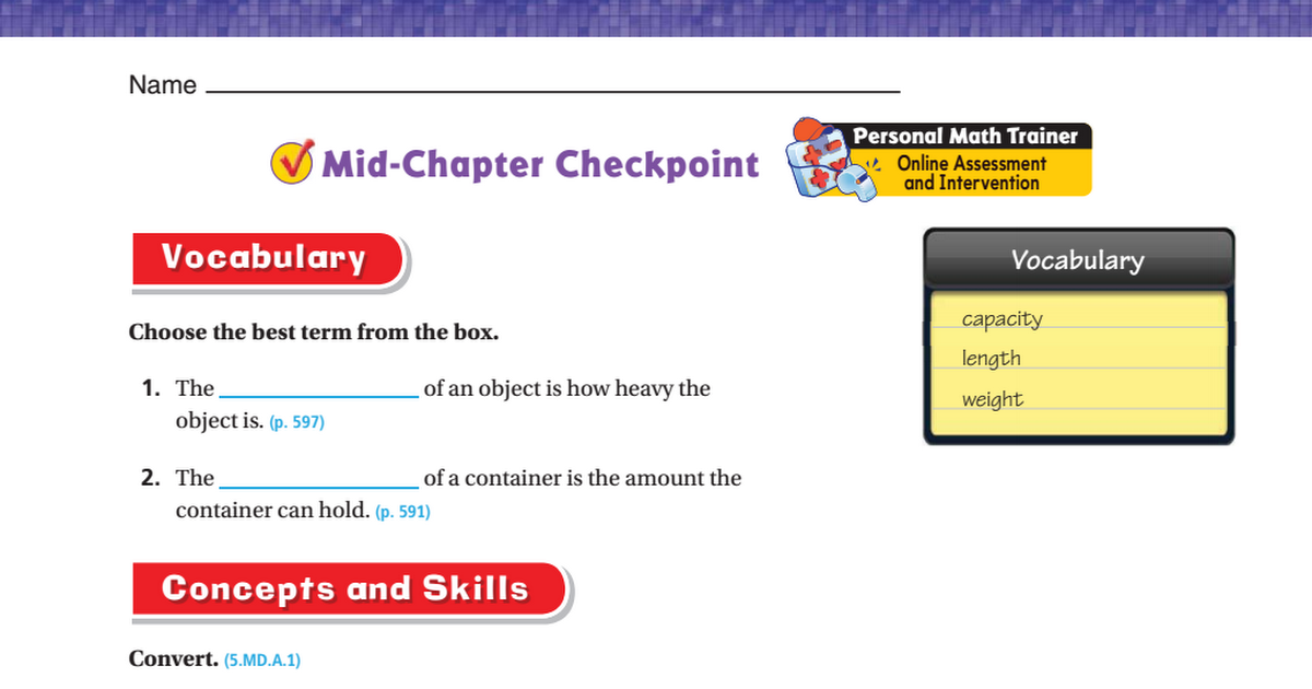 Chapter 12 mid chapter test Answers