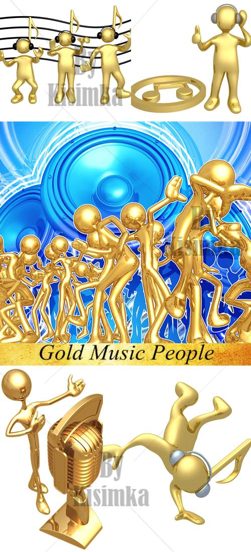 Stock Photo: Gold Music People