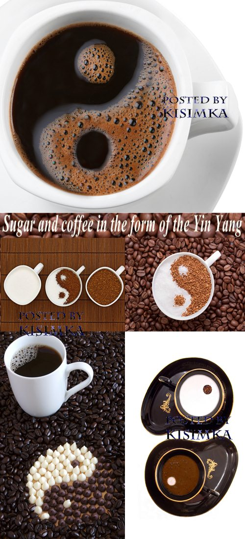 Stock Photo: Sugar and coffee in the form of the Yin Yang