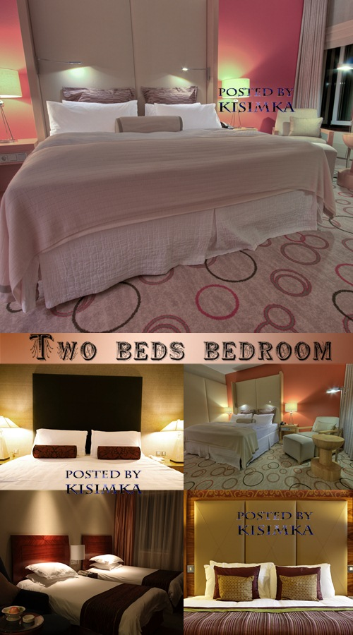 Stock Photo: Two beds bedroom
