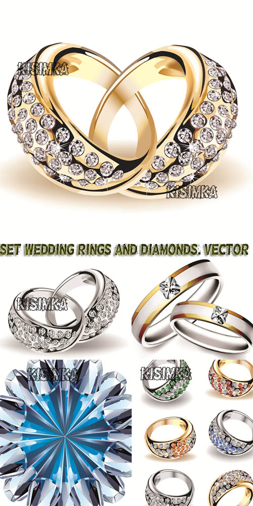 Stock: Set wedding rings and diamonds.