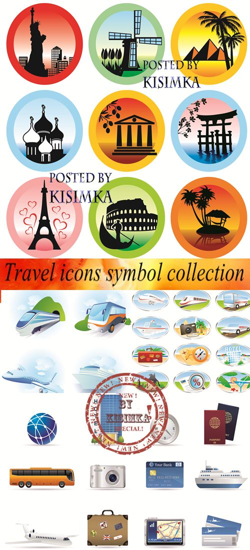 Stock: Travel icons symbol collection. Vector illustration